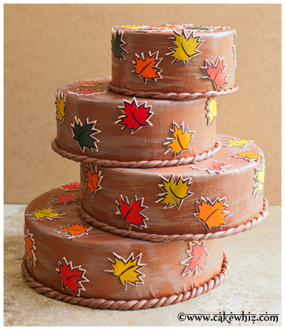 fall themed cake with leaf stamps 21
