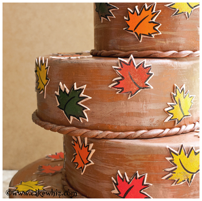fall themed cake with leaf stamps 20