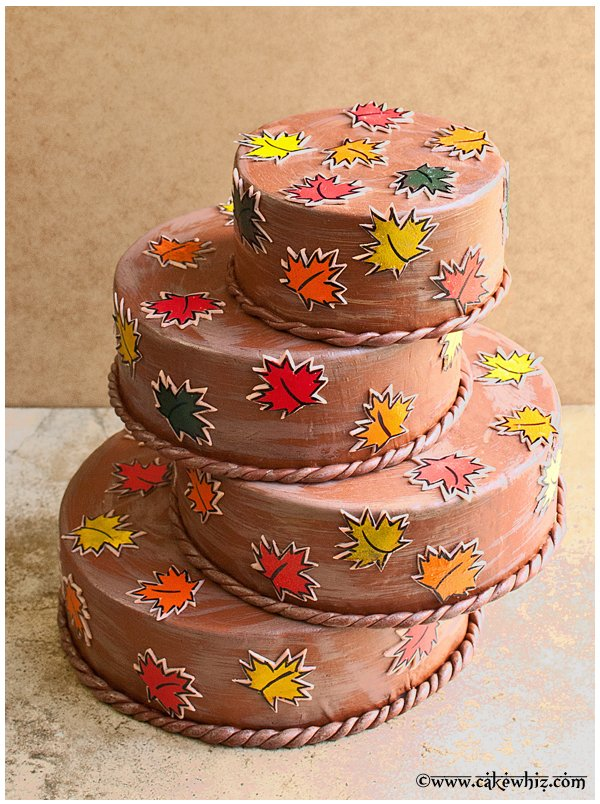 fall themed cake with leaf stamps 1
