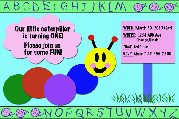 baby einstein caterpillar birthday party invitation