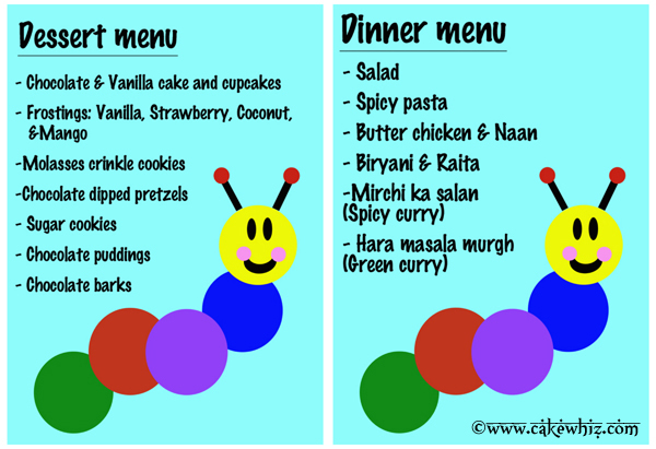 baby einstein caterpillar birthday party menu