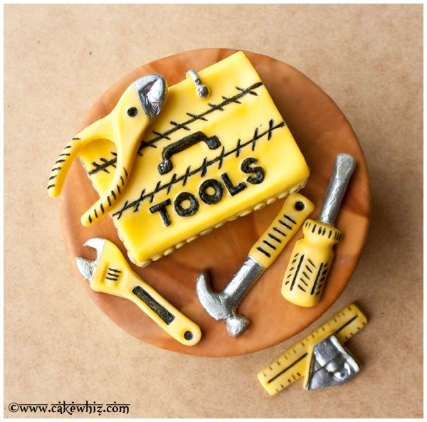 Easy Homemade Tool Box Cake on Brown Wood Background