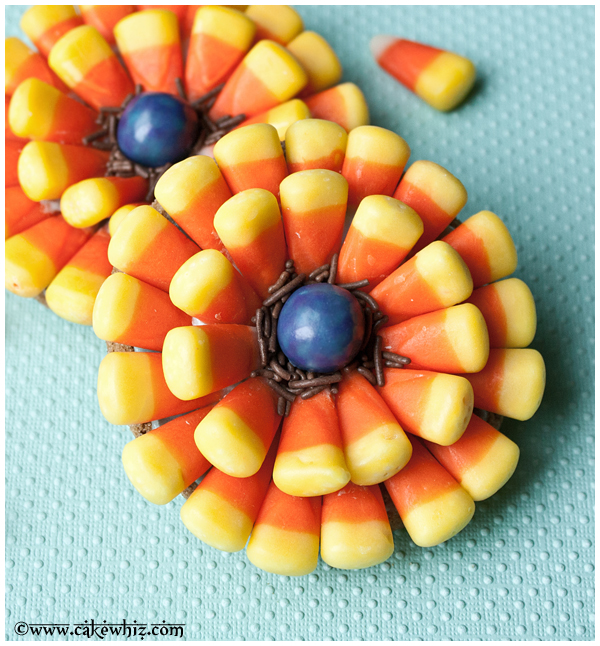halloween candy corn flower cookies 2