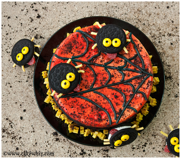 oreo spiders and twizzler spider web cake 5