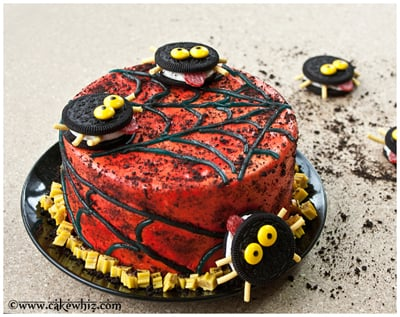 oreo spiders and twizzler spider web cake 14