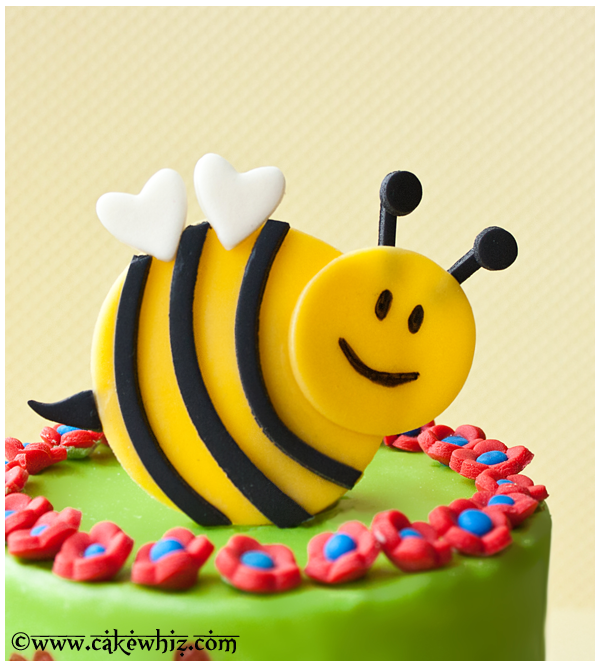 Spring Cake With Flowers And Bumblebee 4