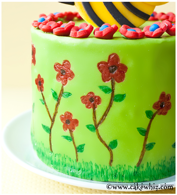 Closeup of Flower Decorations on Fondant Cake With Yellow Background
