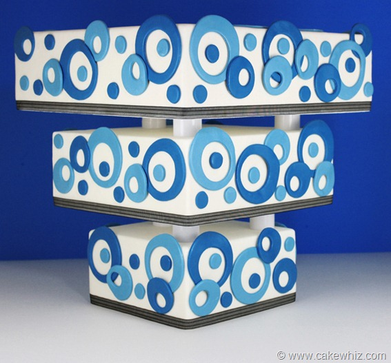 Upside Down Abstract Cake on Blue and White Background