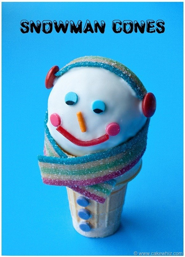 Winter snowman ice cream cones 1