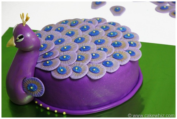 Peacock Cake And Cupcakes - Peacock birthday cake