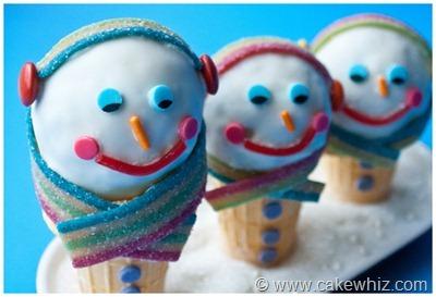 Winter snowman cones 13