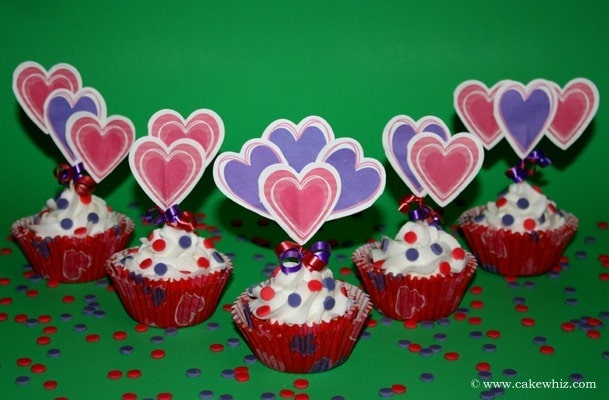 valentine cupcakes with fancy paper toppers