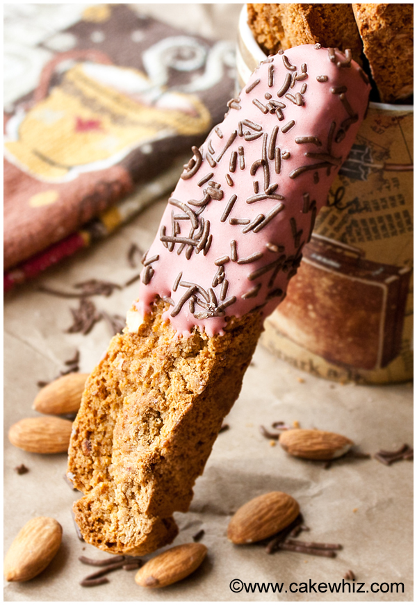 Almond Biscotti Dipped in Chocolate, Resting on a Mug