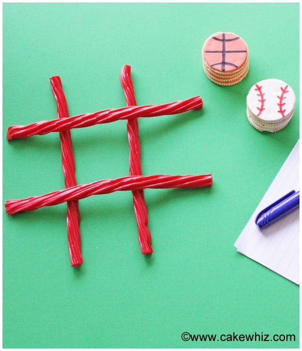 sports ball cookies for a game of tic tac toe 1