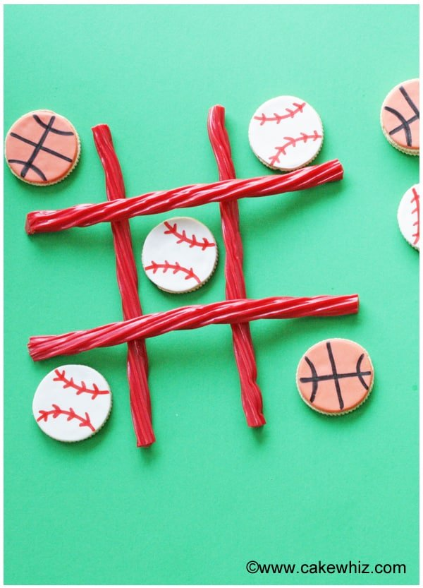 sports ball cookies for a game of tic tac toe 3