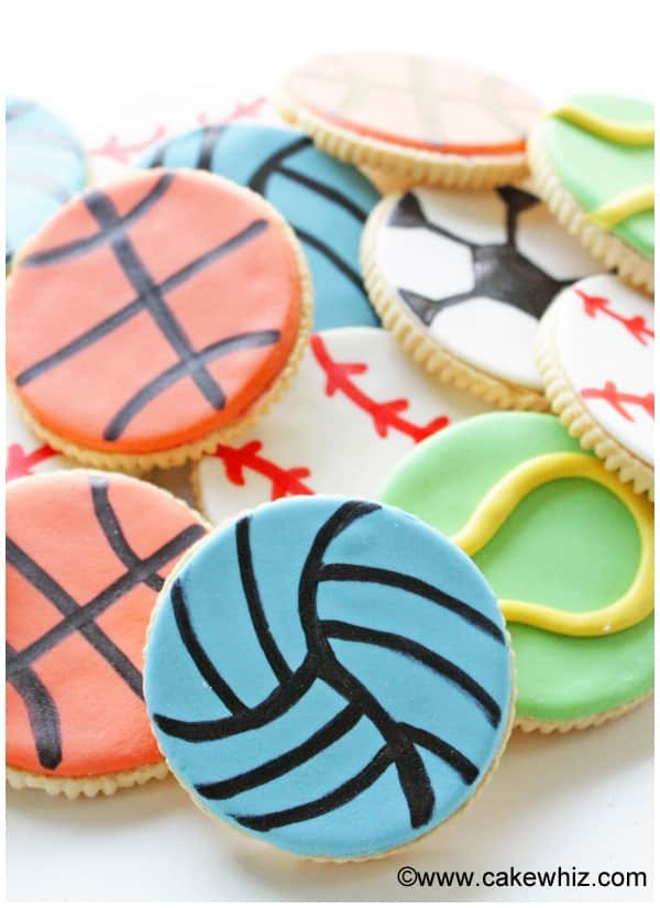 sports ball cookies for a game of tic tac toe 4