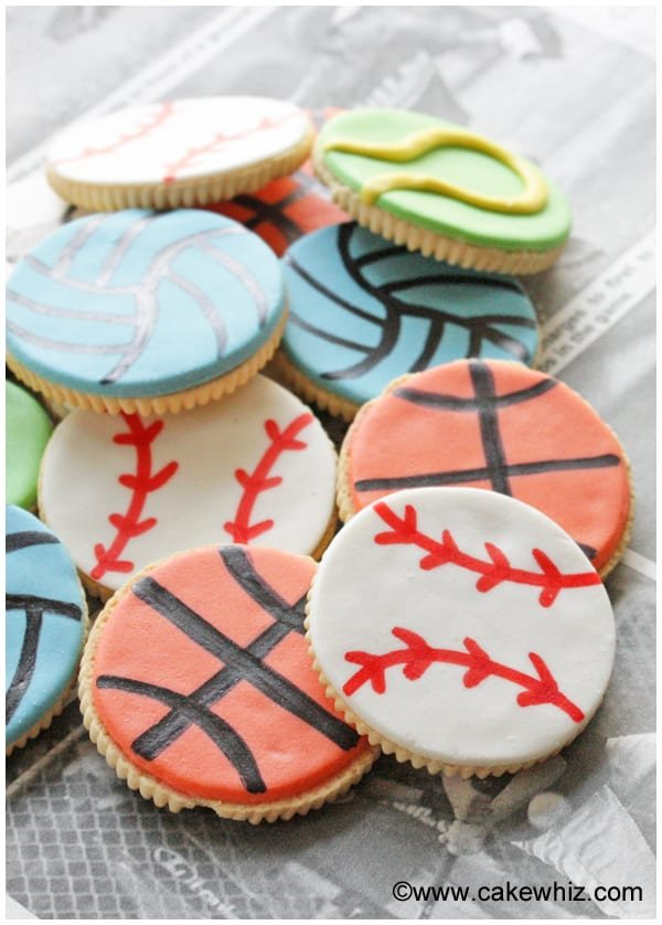 sports ball cookies for a game of tic tac toe 5