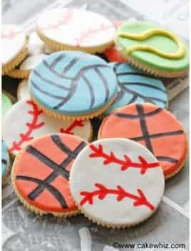Father's Day Sports Cookies on Newspaper
