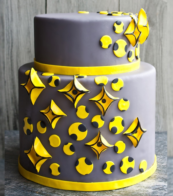 Gray and Yellow Geometric Cake (Two Tiered Cake)