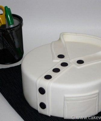 Easy Round Shirt Cake on White Background