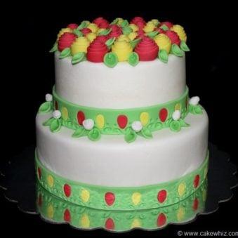 Decorated White Cake With Easy Fondant Roses on Black Background