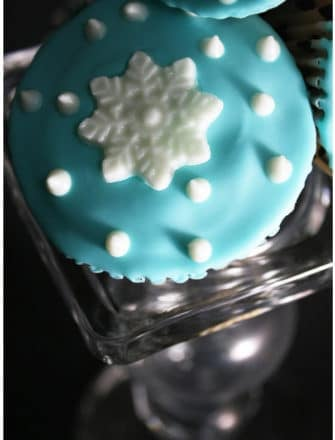Easy Homemade Snowflake Cupcakes on Glass Stand