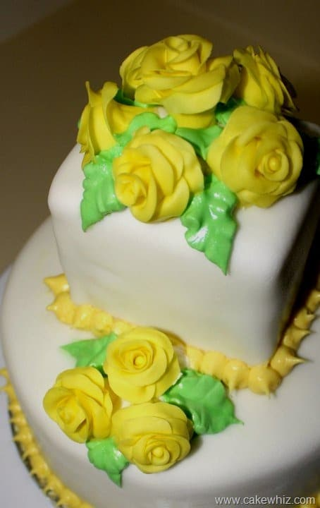 tiered yellow rose cake
