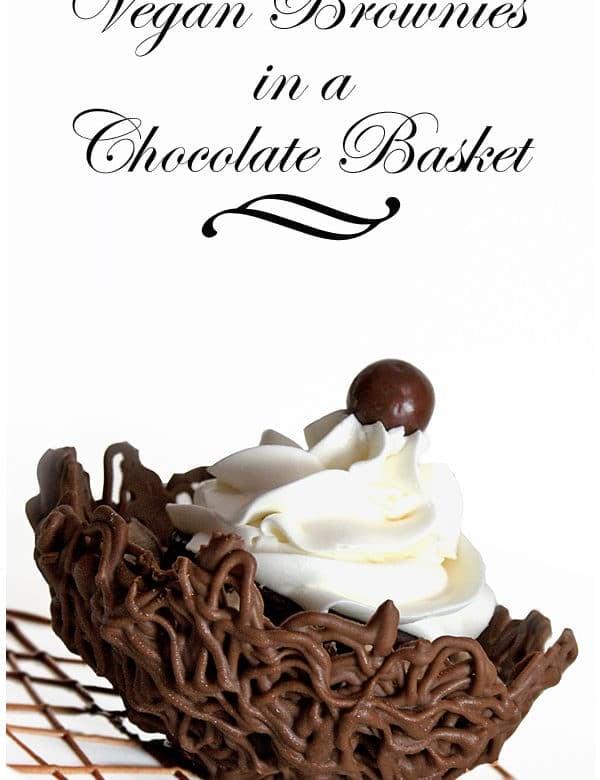 vegan brownies in a chocolate basket