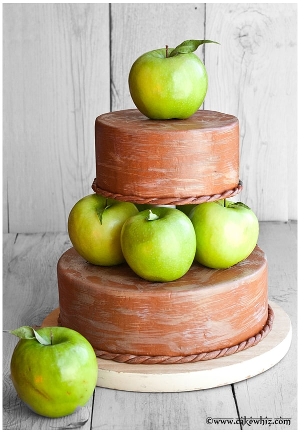 fall themed tiered apple cake
