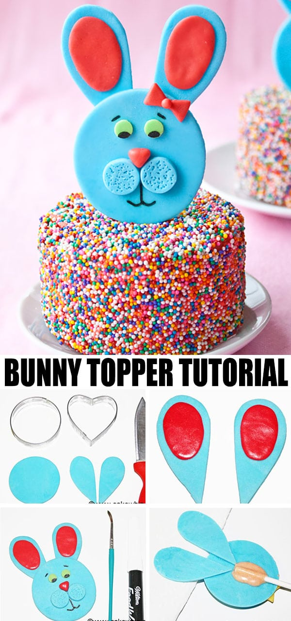 Collage Image With Step by Step Process Shots on How to Make Easter Bunny Cake Topper