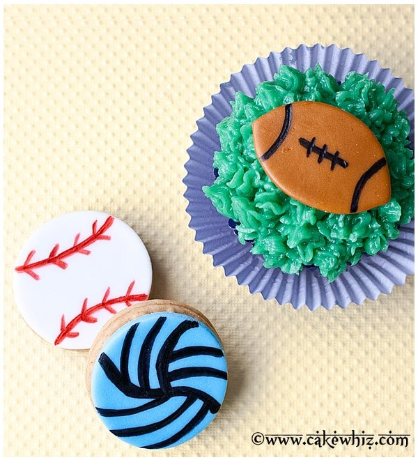 sports ball cupcakes and cookies tutorial