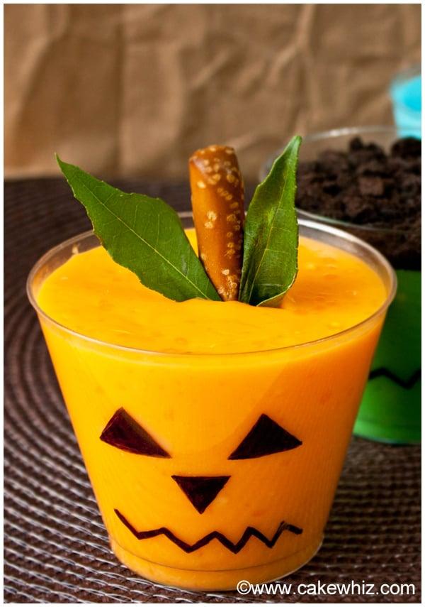 Halloween Pudding Cups- Jack O'Lantern