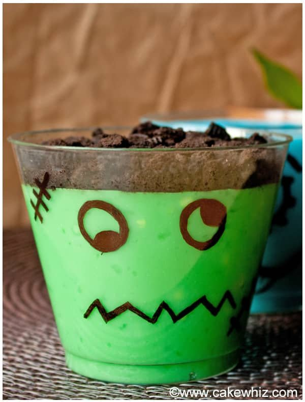 Easy Halloween Pudding Cups- Frankenstein
