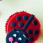 Easy Homemade Fondant Ladybug Cupcakes on Yellow Background