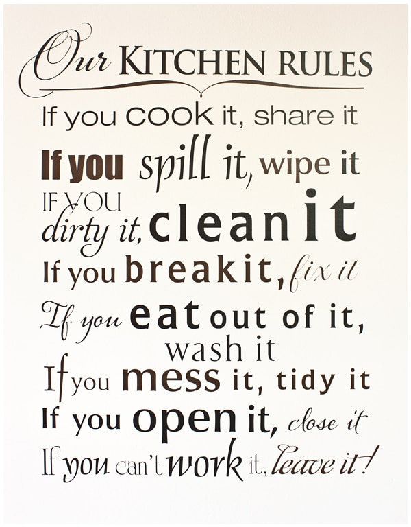 Free Printable Kitchen Rules