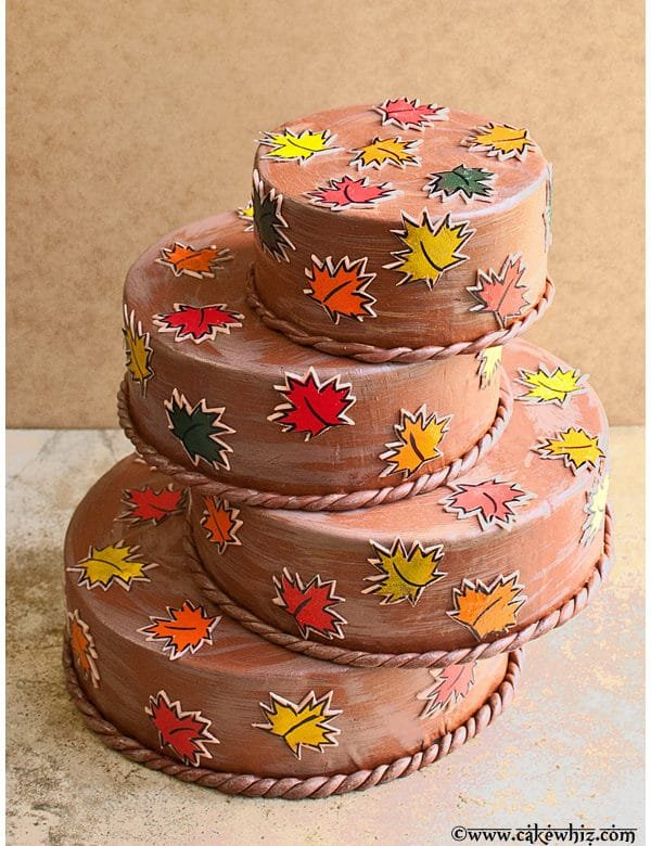 fall themed cake with leaf stamps