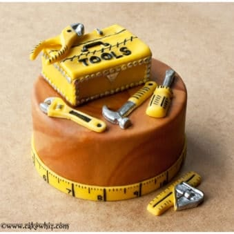 Easy Father's Day Cake (Homemade Tool Box Cake) on Brown Background