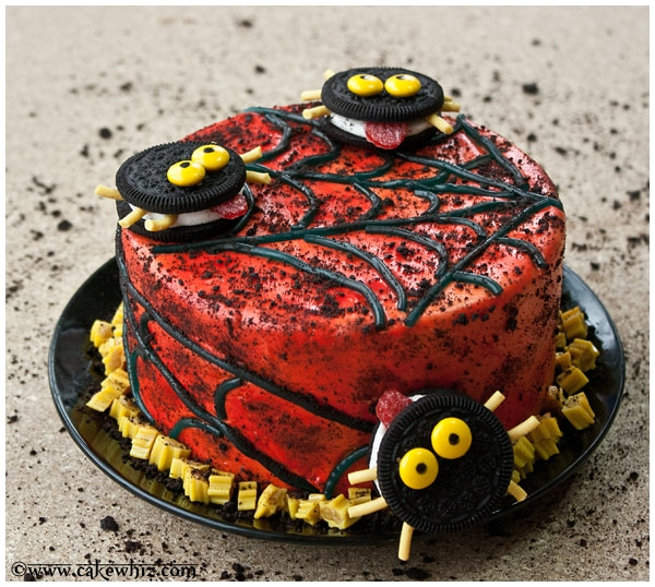 oreo spiders and twizzler spider web cake