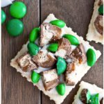 Easy Homemade Chocolate Crackers For St.Patrick's Day on Brown Wood Background- Overhead Shot