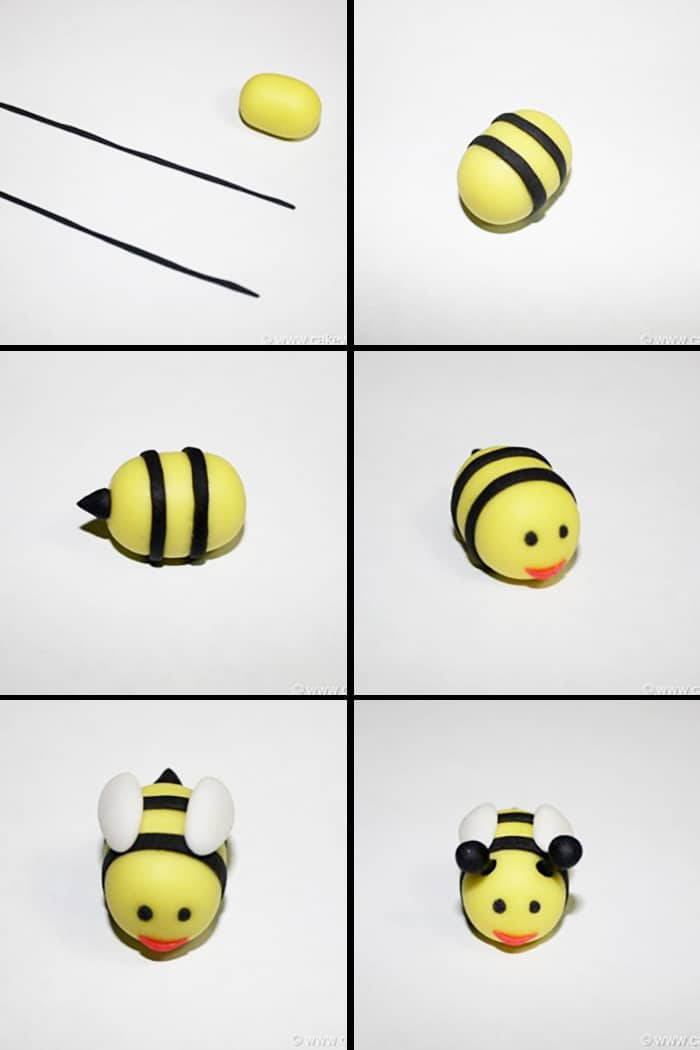 Collage Image With Step By Step Pictures on How to Make Fondant Bee Cupcakes (Bumblebee or Honey Bee)