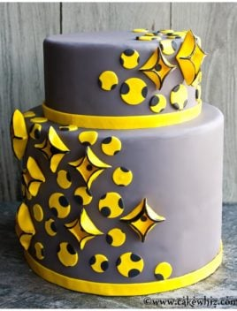Modern Abstract Cake on Rustic Background- Yellow and Gray Color Theme