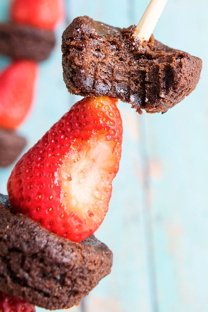 Fruit Kabobs With Strawberries and Chocolate Brownies