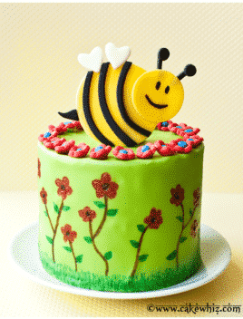 Easy Bumblebee Cake (Spring Cake) on White Plate With Yellow Background