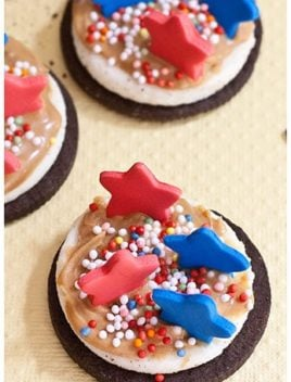 Easy Oreo Bites With 4th of July Decorations on Yellow Background