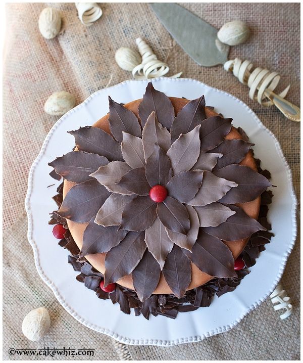 Cake Decorating Chocolate Leaves : Fall Themed Chocolate Tree Cake
