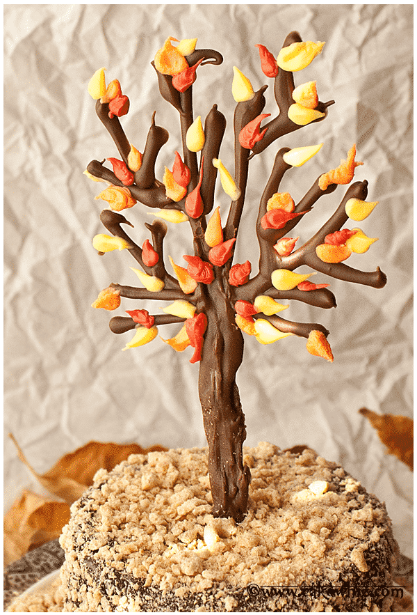 fall themed chocolate tree cake 3