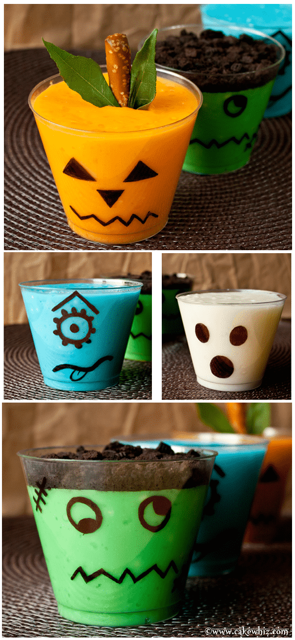 halloween spooky pudding cups