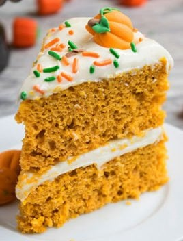 Easy Pumpkin Cake With Cream Cheese Frosting (Doctored Cake Mix Recipe)