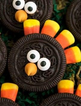 Easy Thanksgiving Turkey Cookies (Oreo Turkey Cookies)