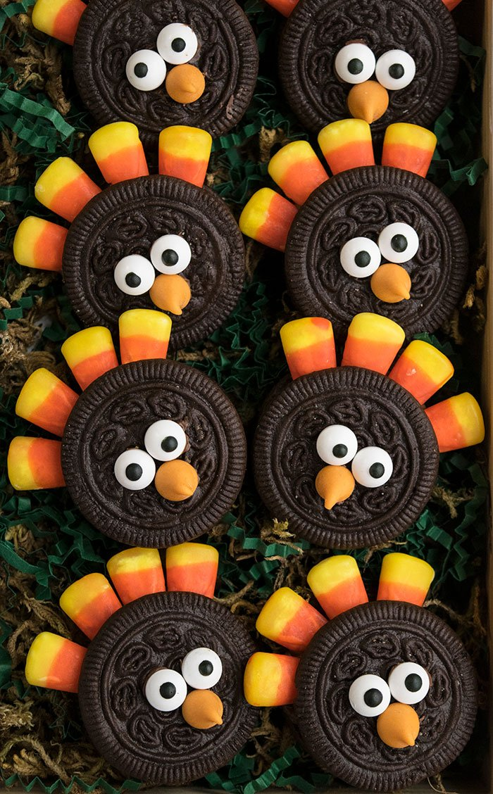 Decorated Turkey Cookies (With Candy Corn and Oreos)